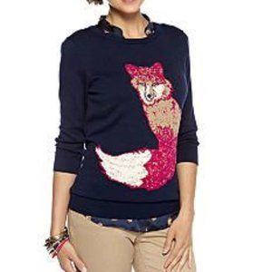 Cynthia Rowley Fox Pullover Blue Pink XL Sweater